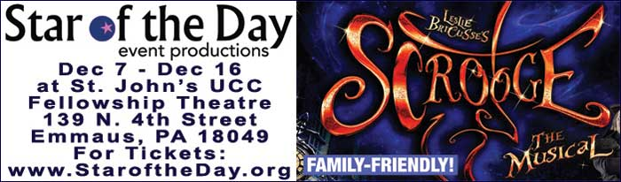 Star of the Day Event Productions presents Scrooge: The Musical. It follows Ebenezer Scrooge on a Christmas Eve adventure to right the wrongs in his life. Along the way he meets larger than life characters and some ominous 'friends' from the past that help him see the error in his ways. Based on Dickens' A Christmas Carol, Scrooge: The Musical is written and composed by Leslie Bricusse. The rich score is fun and entertaining. A must-see this holiday season!